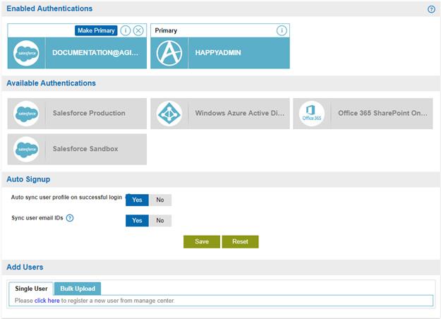Authentication Configuration screen