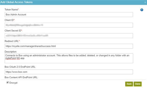 Box Access Token Configuration screen