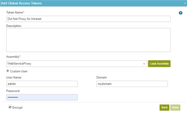 Dot NET Proxy Access Token Configuration screen