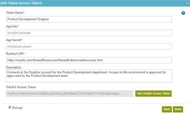 Dropbox Access Token Configuration screen
