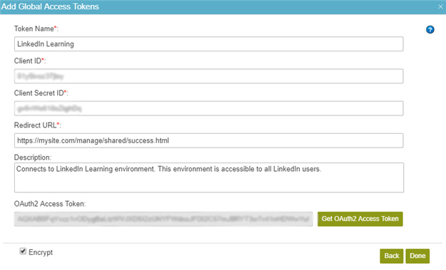LinkedIn Access Token Configuration screen