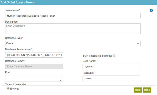 Database Access Token Configuration screen