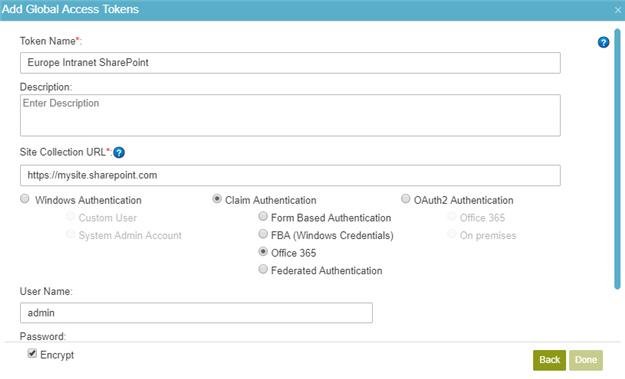 SharePoint Access Token Configuration screen