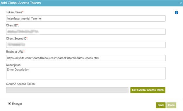 Yammer Access Token Configuration screen