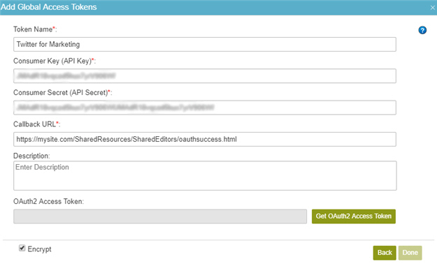 Twitter Access Token Configuration screen