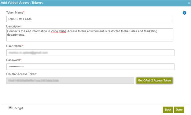 Zoho CRM Access Token Configuration screen