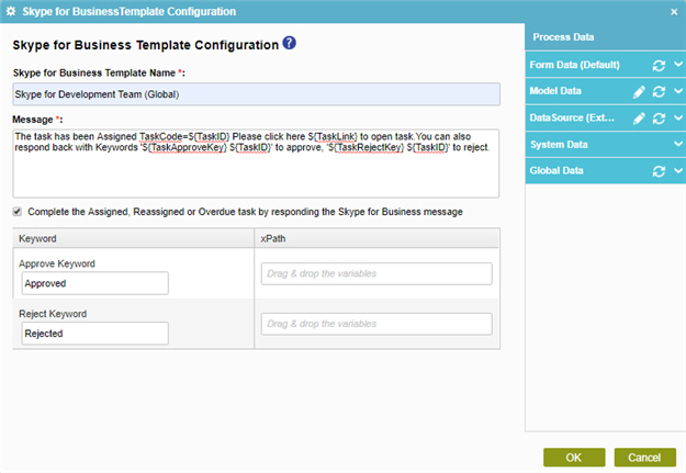 Skype for Business Template Configuration screen