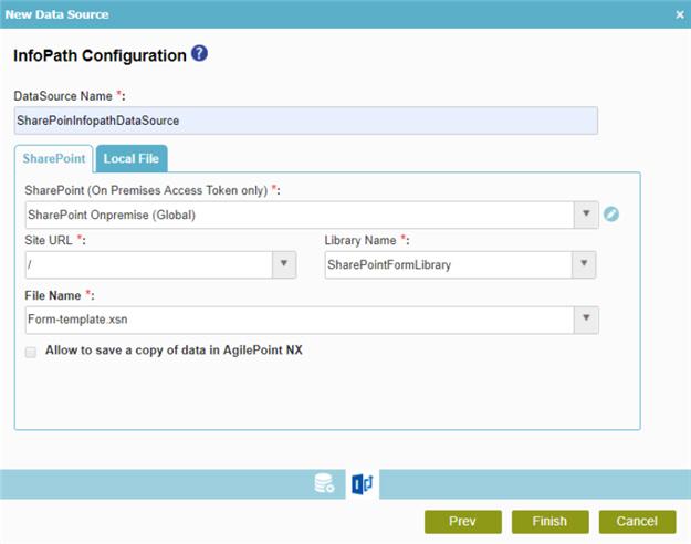 InfoPath Configuration screen