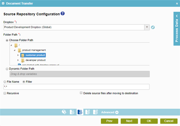 Dropbox Source Repository Configuration screen