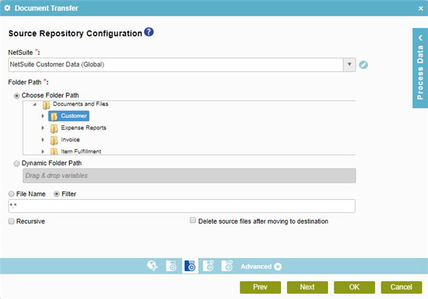 NetSuite Source Repository Screen