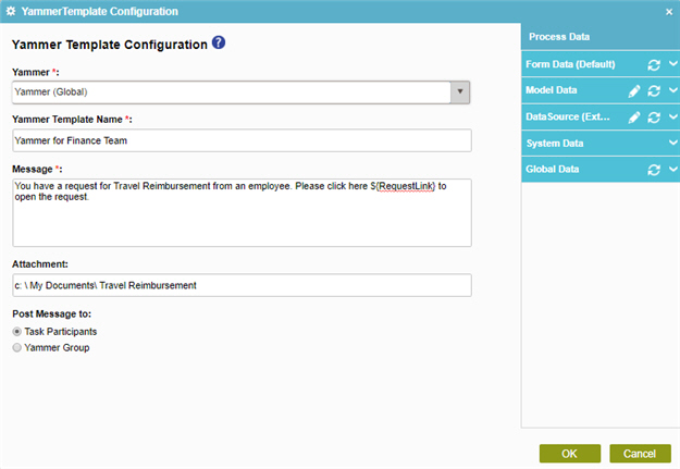Yammer Template Configuration screen