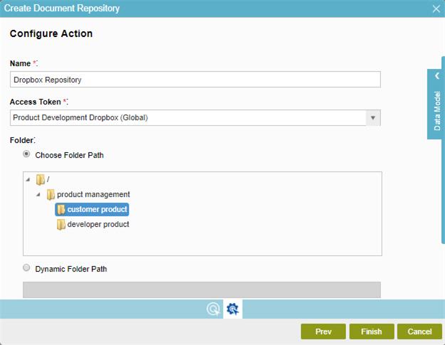 Dropbox Create Document Repository screen