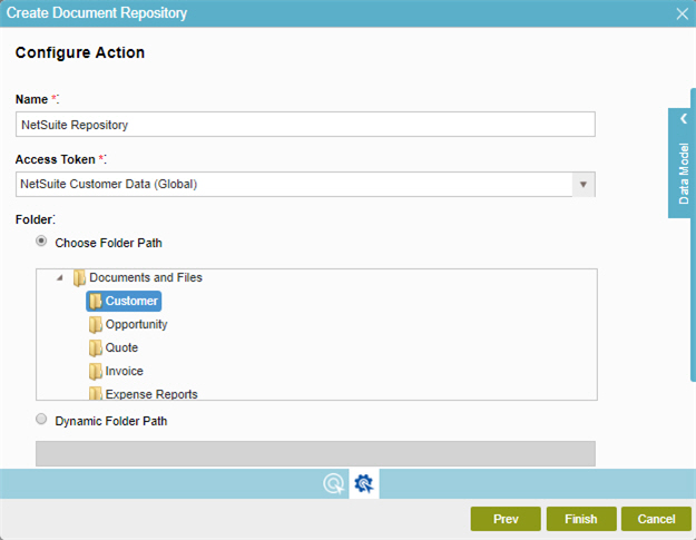 NetSuite Create Document Repository screen