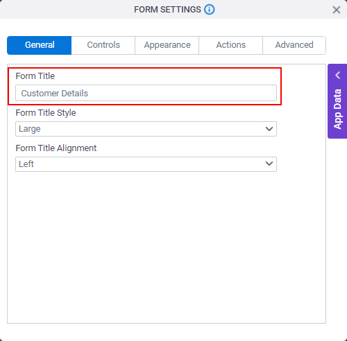 Form Settings General tab