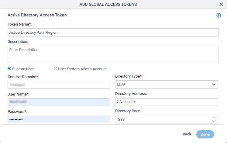Active Directory Access Token Configuration screen