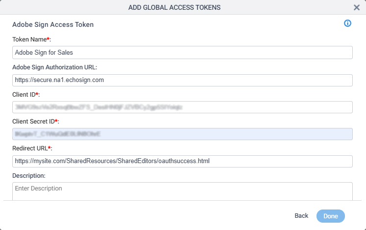 Adobe Sign Access Token Configuration screen