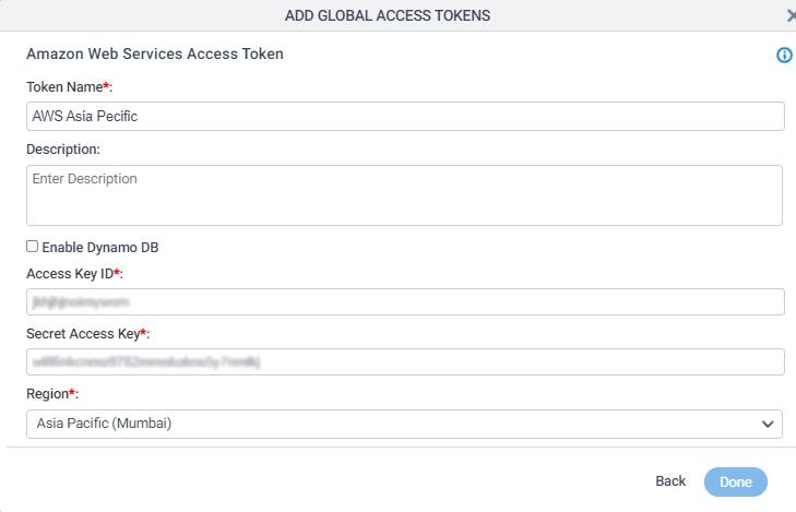 Amazon Web Services Access Token Configuration screen