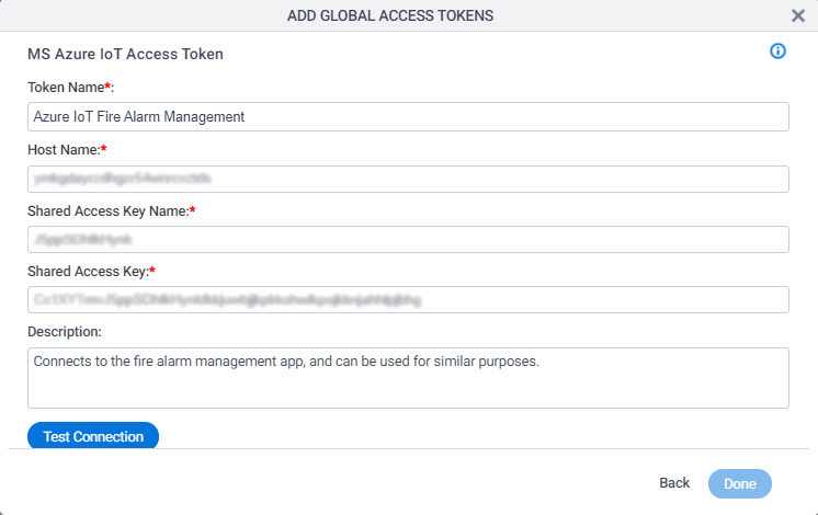 Microsoft Azure IoT Access Token Configuration screen