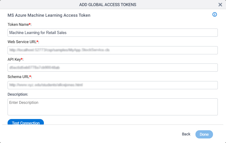 Azure Machine Learning Access Token Configuration screen
