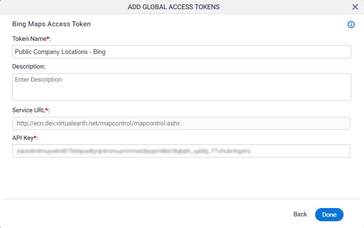 Bing Maps Access Token Configuration screen