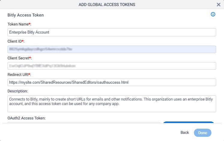 Bitly Access Token Configuration screen