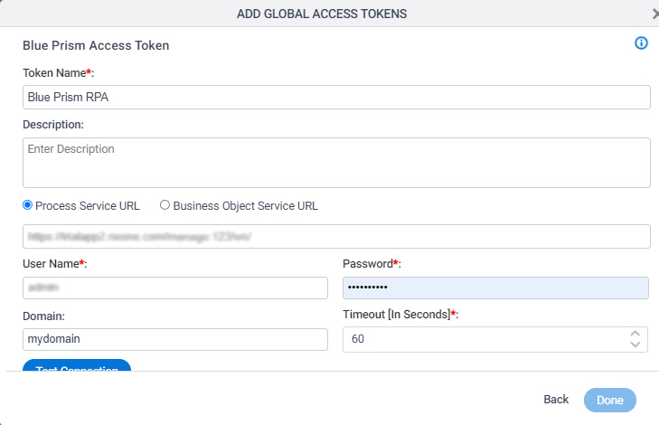 Blue Prism Access Token Configuration screen