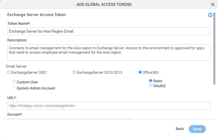 Exchange Server Access Token Configuration screen