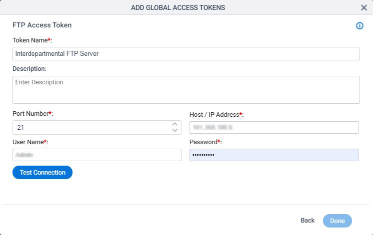 FTP Access Token Configuration screen