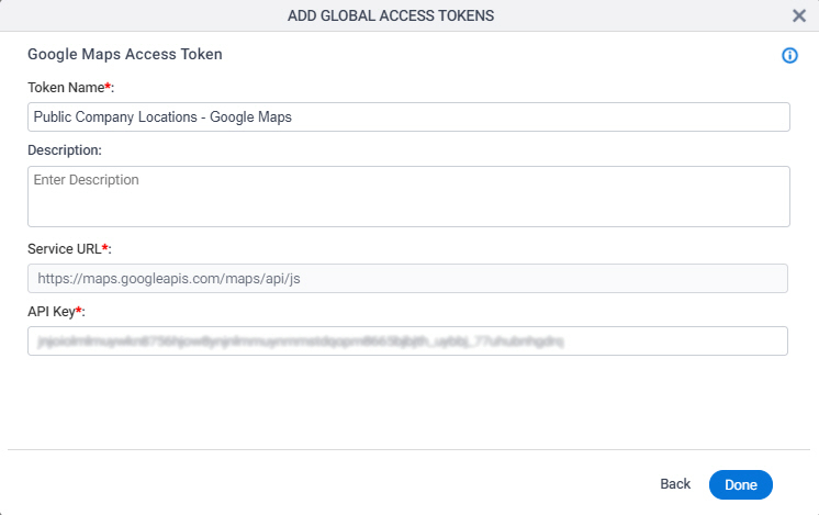 Google Maps Access Token Configuration screen