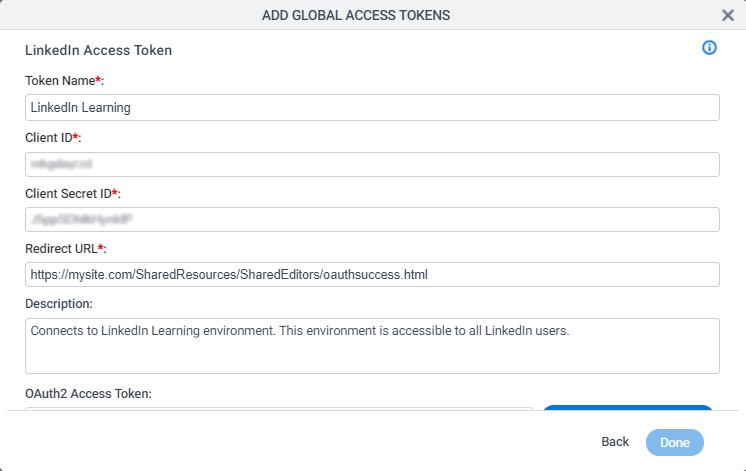 LinkedIn Access Token Configuration screen