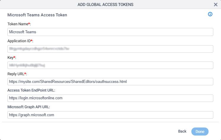 Microsoft Teams Access Token Configuration screen