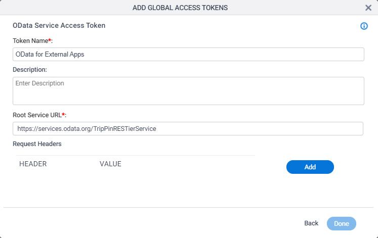 OData Access Token Configuration screen