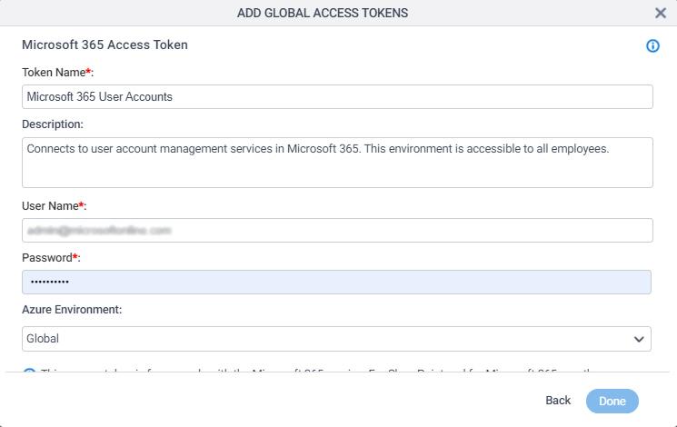 Office 365 Access Token Configuration screen