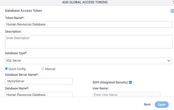 Database Access Token Configuration screen