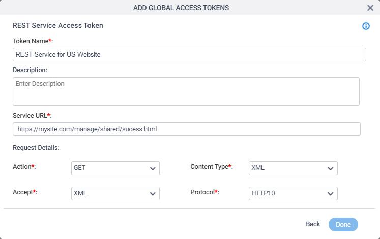 REST Service Access Token Configuration screen