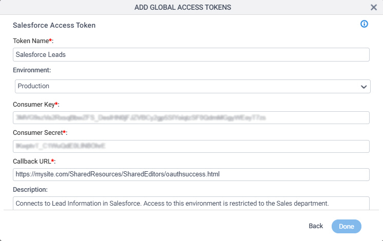 Salesforce Access Token Configuration screen