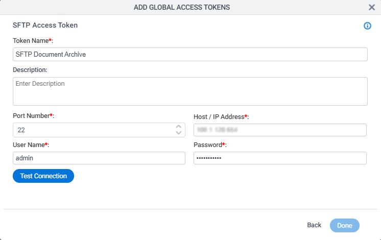 SFTP Access Token Configuration screen