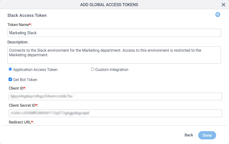 Slack Access Token Configuration screen