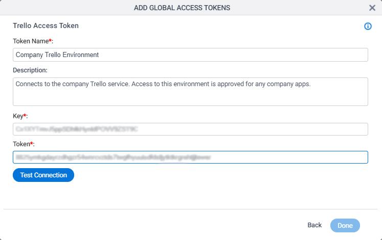 Trello Access Token Configuration screen