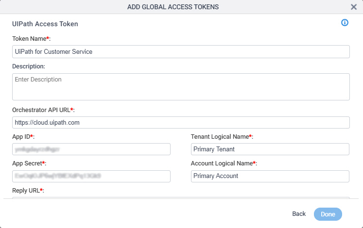 UiPath Access Token Configuration screen