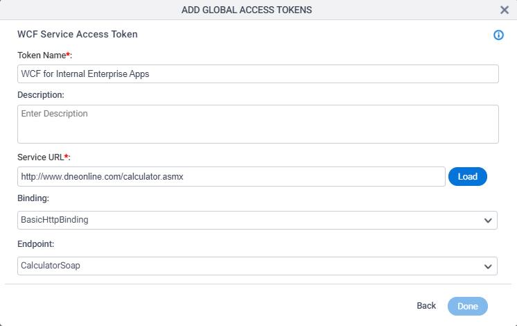 WCF Access Token Configuration screen