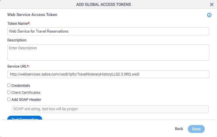 Web Service Access Token Configuration screen