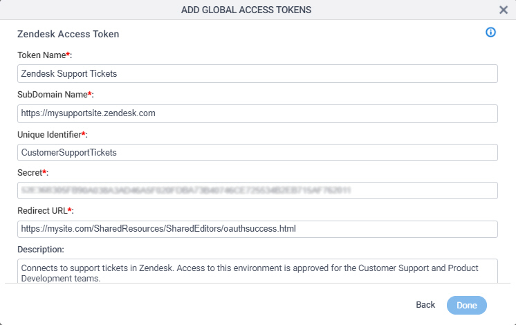 Zendesk Access Token Configuration screen