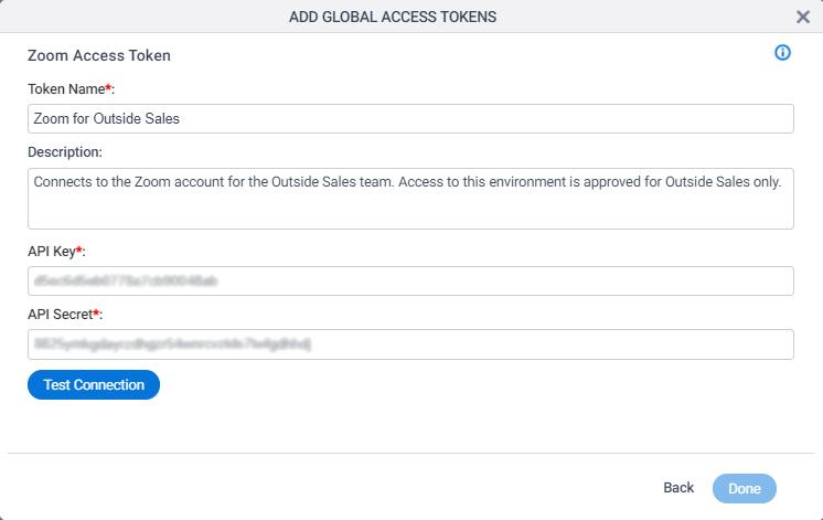 Zoom Access Token Configuration screen