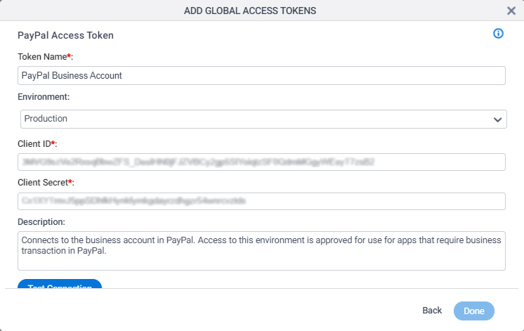 PayPal Access Token Configuration screen