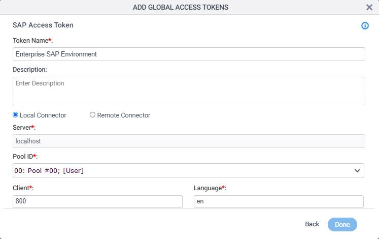 SAP Access Token Configuration screen