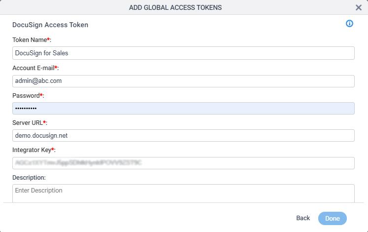 DocuSign Access Token Configuration screen