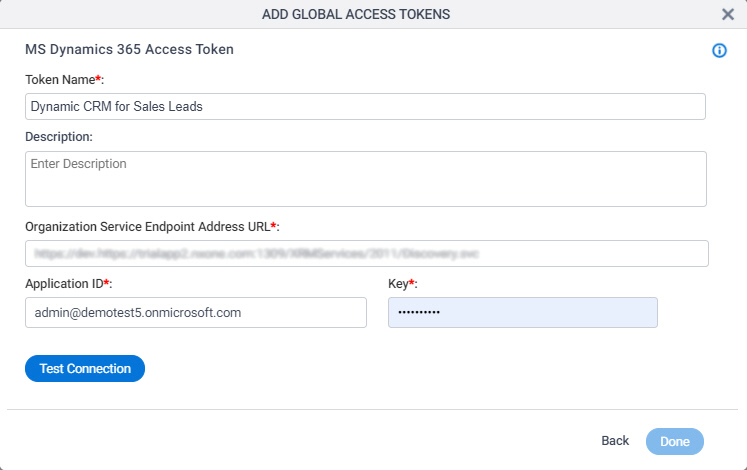 Microsoft Dynamics CRM Access Token Configuration screen