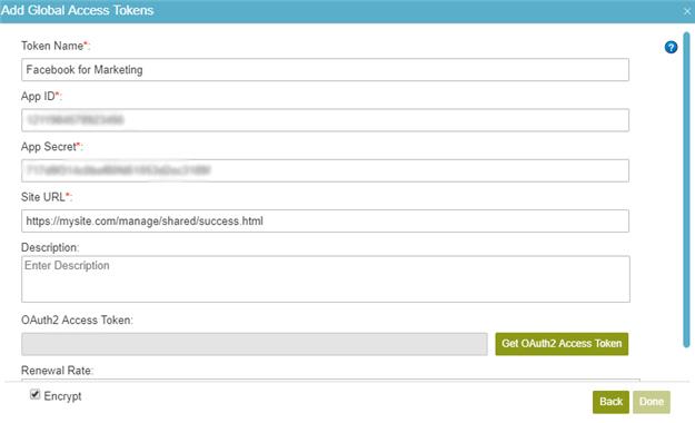 Facebook Access Token Configuration screen