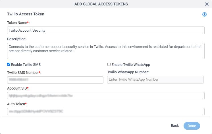 Twilio Access Token Configuration screen